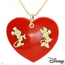 mickey minnie couture red large heart gold necklace