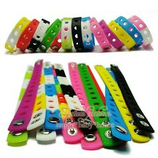Mix14pcs Colour Silicone Bracelet Wristbands 21CM Fit Croc Shoe Buckle Kid Gift