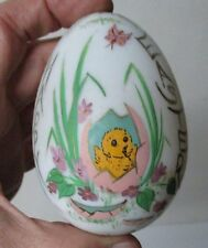 Old Blown Milk Glass Victorian Painted Easter Egg - Hatching Chick