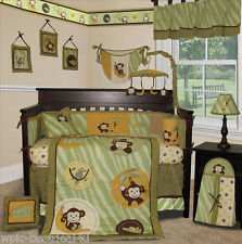 Custom Baby Bedding - Jungle Monkey (Green) - 15 pcs Nursery Crib Bedding Set