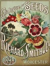 New 15x20cm SMITH SEED CATALOGUE vintage enamel style tin metal advertising sign
