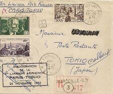 LETTRE PAR AVION - 1ere LIAISON AERIENNE PARIS POUR TOKYO JAPON RECOMMANDE 1952