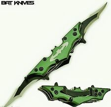 11''  Large Green Batman Spring Assisted Double Blade Knife w/Case #10524-GN-E1