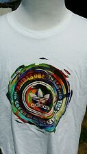 ADIDAS ORIGINALS MENS Rainbow XL RETRO TREFOIL LOGO White T SHIRT Vintage Style