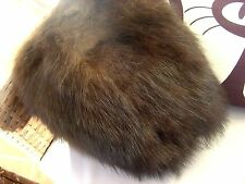 Vintage LARGE REAL FUR ..CHESTNUT BROWN  MUFF/HAND WARMER. MARMOTT/MINK/BEAR/FOX