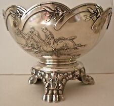 WHITING AESTHETIC ACID ETCHED STERLING FIGURAL HORSE RACING TROPHY BOWL 1885