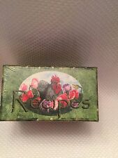 Vtg  PADDED RECIPE BOX w RECIPE CARDS Rooster Chicken Floral Leere Aldrich