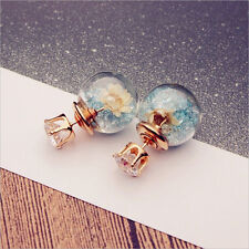 Women Jewerly One Pair Clear Double Sides Flower & Crystal Ear Stud Earrings Hot
