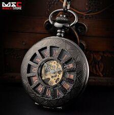 Vintage Black Steampunk Mechanical Windup Skeleton Pocket Watch Pendant Chain UK