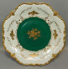 Prunkteller Teller Reichenbach Goldrosen Gold Relief Grün Smaragd Barock 32cm