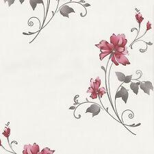 Tapete Blumen rot grau Vliestapete P+S Pure+Easy 13285-20 (2,10€/1qm)