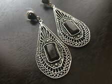 Earrings Silver Tone Marcasite Crystals Stone  Post Pierced Dangle E200