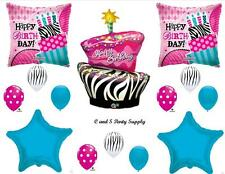 ZEBRA & POLKA DOTS CAKE HAPPY BIRTHDAY PARTY BALLOONS Decorations Supplies 16TH
