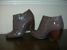 CLARKS WOMEN'S ANKLE BOOTS BROWN PATENT LEATHER WEDGE HEEL EU SIZE 37 / UK 4