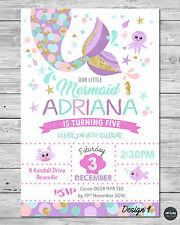 LITTLE MERMAID INVITATIONS INVITE 1ST FIRST BIRTHDAY PARTY SUPPLIES POOL OCEAN