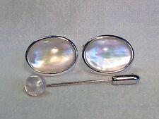 Madreperla Gemelli con corrispondenza Cravatta/Tie Pin, finitura argentata.