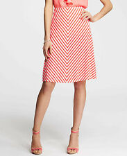 Brand New Ann Taylor Bias Stripe Full Skirt Color Pink/White Size L