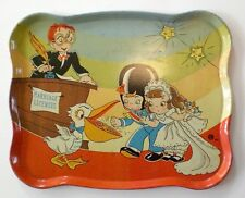 "1950's OHIO ART ""THE WEDDING"" TIN LITHO TRAY BRIDE GROOM RINGS PELICAN TOY PLAY"
