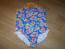 Size 10-12 OP Ocean Pacific One Piece Swimsuit Bathing Swim Blue Orange Hearts