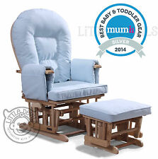 BLUE SUPREMO BAMBINO Nursing Glider Rocking Recliner Maternity Chair With Stool