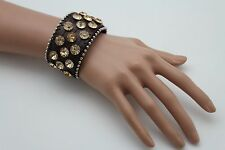 Women Brown Leather Bracelet Western Fashion Jewelry Big Gold Rhinestone Beads