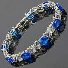 Xmas Charming! Xmas Blue Sapphire White Gold Gp Tennis Bracelet Jewelry New