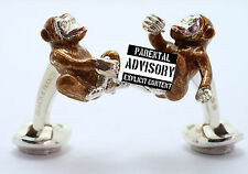 Deakin and Francis Silver & Enamel Cheeky Monkey Cufflinks Diamond Eyes