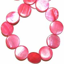 MPX1955L 10-Strands Bright Pink Mother of Pearl 20mm Flat Round Shell Beads 16""