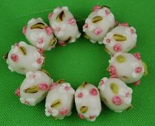 12pcs HANDMADE LAMPWORK BEADS White Flower Rondelle Loose Jewelry Craft Spacer