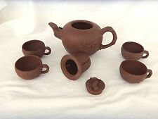 Clay Teapot with 4 Cups/ Squirrels and Branches/ Unglazed Brown