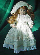 Antique Style Bisque Porcelain Doll In Victorian Dress, Marked Sibani