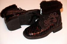 Brown Leather girls boots size UK 7/24