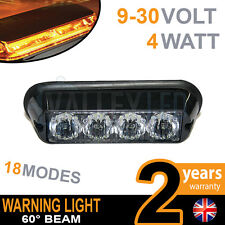 4 LED Warning Module Beacon Amber Recovery Strobe 12v/24v Hazard HGV Van