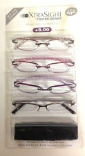 4 Pack FOSTER GRANT Daniella FRAMELESS READING GLASSES +3.00  w/3 soft cases