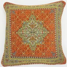 "2 X TERRACOTTA ORANGE GOLD AZTEC TAPESTRY CHENILLE THICK 18"" CUSHION COVER"