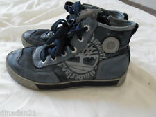 Boys Timberland boots, size 4  EUR 37, blue/cream, leather/canvas