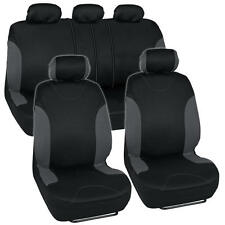 """""""Venice"""" Series Black Charcoal Seat Covers for Car Two Tone Design Front & Rear"""