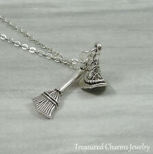 Silver Witch Hat and Broom Necklace - Wicked Witch Halloween Charm Jewerly NEW