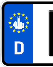 2x Mittelfinger Nummernschild Kennzeichen Plakette Stinkefinger Aufkleber Euro