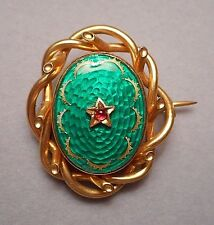 Antique Victorian 14K Gold Green Enamel & Garnet Sentimental Brooch Crystal Back