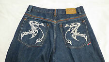 MENS Authentic Coogi  JEANS Silver Colored Embroidery  38 x 31 Dark  EUC HIP HOP