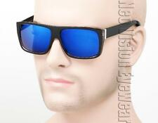 Flat Top Wayfarer Sunglasses Hipster Vintage Style Black Blue Mirrored 375