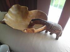 AFRICAN Carved Wooden GIRAFFE DRINKING BOWL  sculpture TREEN, VGC, FREE-MAILING.