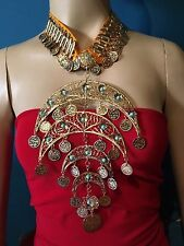 Large Egyptian Belly dance metalic Necklace choker tribal jewelry Gold tone