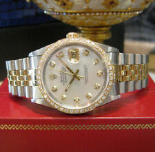Mens ROLEX Oyster Perpetual Datejust Diamonds Yellow Gold and Stainless Steel