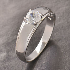 Vintage womens Silver Plated CZ Wedding Engagement promise love Ring Size 6