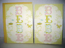 "2 Hispanic Greeting Cards BABY BEBE Sinceramente Hard to Find 8""x5"" Free Ship"