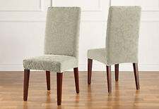 Sure Fit Stretch Jacquard Damask Short Dining Chair Cover Sage
