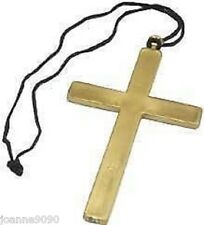 LARGE GOLD 23cm FANCY DRESS CROSS PRIEST VICAR CLERGY NUN MONK COSTUME ACCESSORY