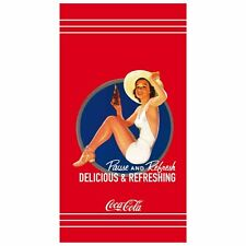 CTI Kinder Badetuch Velouroptik Duschtuch Coca Cola Pin Up Girl 85 x 160 cm  neu